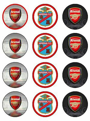 12 Arsenal Soccer Edible Icing Image Birthday Cupcake Topper Cake Decoration