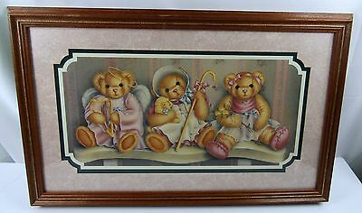 Home Interior Frame Picture 3 Teddy Bears 15 x 23
