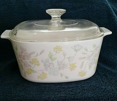 Corning Pastel Bouquet A 3 B 3 quart covered casserole with A 9 C lid