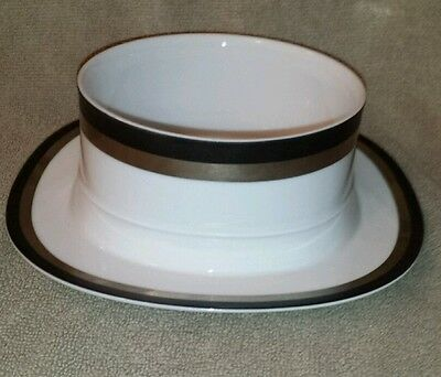 Sango Black Satin gravy boat with attached underplate