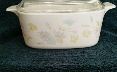 Corning Pastel Bouquet A 1 1/2 B covered casserole with A 7 C lid