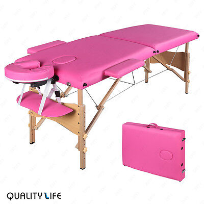 "84""L Folding Massage Table Portable Facial SPA Beauty Bed Tattoo Carry Case Pink"