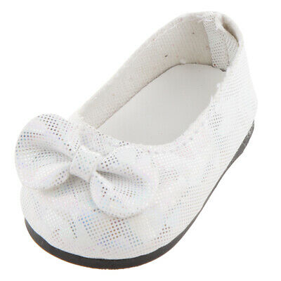 Fashion White Bowknot Princess Shoes Fit 18 Inch American Girl Doll Clothes