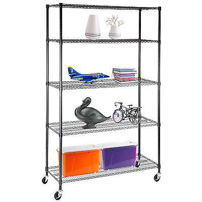 "5 Tier 82""x48""x18"" Adjustable Heavy Duty Layer Wire Steel Shelf Shelving Rack"