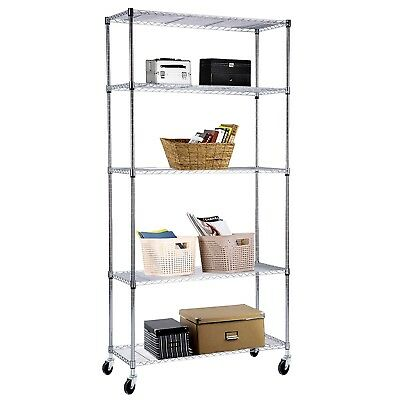 "Adjustable 5 Tier 60""x30""x14"" Chrome Wire Shelving Rack Heavy Duty Steel Shelf"