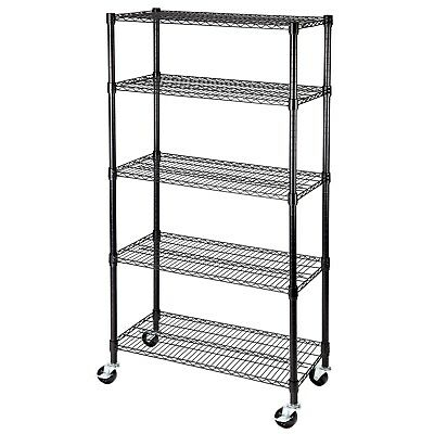 "5 Tier 60""x30""x14"" Shelving Rack  Heavy Duty Layer Wire Steel Shelf Adjustable"