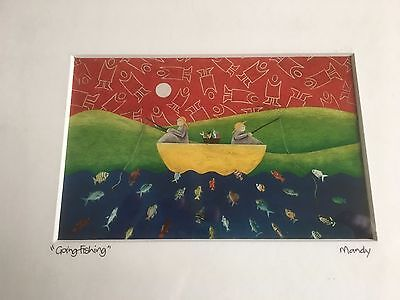 """Original water colour painting - """"GONE FISHING"""" by Mandy - Framed"""