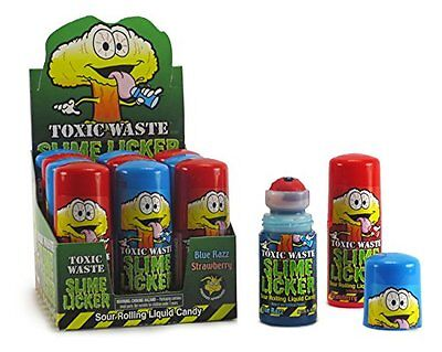 Toxic Waste Slime Lickers Sour Rolling Liquid Candy Blue Razz, Strawberry Flavor