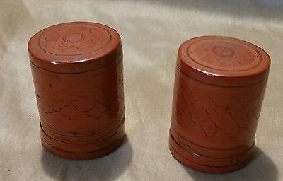 "Vintage/Antique Burmese Red Lacquer Wood Hand Painted a pair Box  2""X2.5"