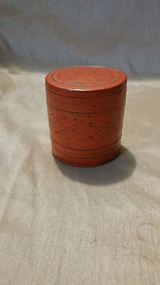 """Vintage/Antique Burmese Red Lacquer Wood Hand Painted Box 3""""X2.5"""""""