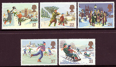 GB UK 1990 Christmas Complete Mint Set (SG 1526-1530)