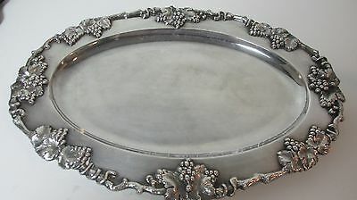 Antique Sheffield Silver Platter 17 x 12 Grapevine Relief Made in England Heavy
