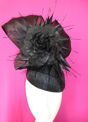Black Flower Feathers Hat Fascinator Feathers Races Wedding
