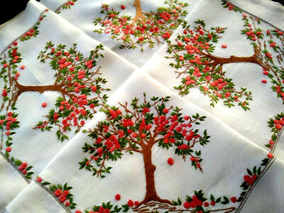 "Wonderful Laden Orange Trees ~ Vintage Hand Embroidered Tablecloth 44""X49"""