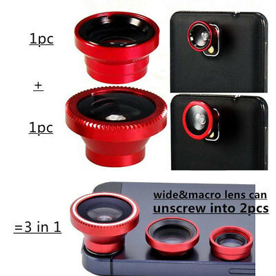 3 in 1 Fisheye Wide Angle Macro Lens Clip For Mobilephone Camera Shoot WELL