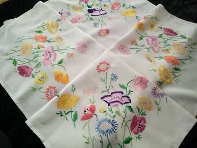 """Glorious Poppies & Daisies ~ Vintage Large Hand Embroidered Tablecloth 51"""" X 53"""""""