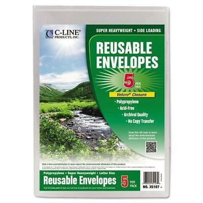 C-Cline 35107 Reusable Poly Envelope, Hook and Loop Closure, 9 1/4 x 12 4/5, Cle