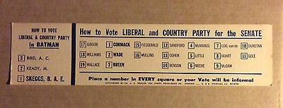 How To Vote card Liberal & Country Party 1960s Victoria - Election of Senators