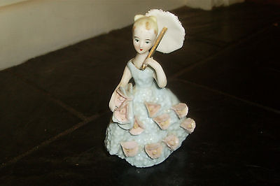 Vintage Retro Ceramic Crinoline Lady /Girl with Umbrella Figurine -Made in Japan