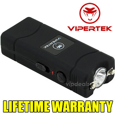 VIPERTEK VTS-881 110 BV Rechargeable Micro Mini Stun Gun LED Flashlight - Black