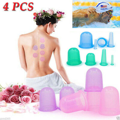 4pcs/set Silicone Massage Vacuum Full Body Facial Anti Cellulite Cupping Cup Kit