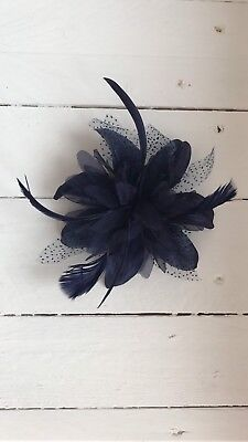 Navy Feather Fascinator Hair Clip Ladies Day Races Party Wedding