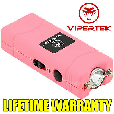 VIPERTEK VTS-881 110 BV Rechargeable Micro Mini Stun Gun LED Flashlight - Pink