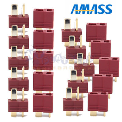 10 Pairs Amass T Plug Male & Female Connectors Deans For RC LiPo Battery