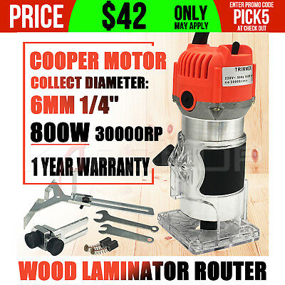 800W  Electric Hand Trimmer Wood Laminate Palm Router Joiners Tool 6mm 1/4''