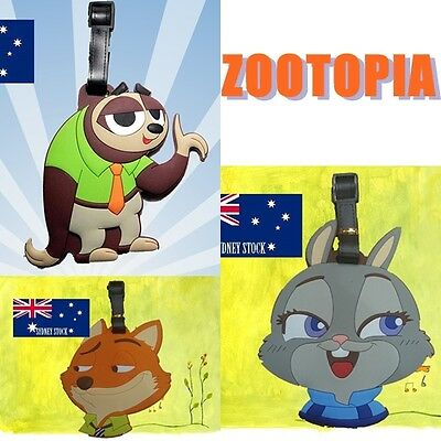 2 x Zootopia Characters Travel Luggage School Sport Bag Tag Name Address Suitcas