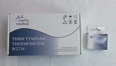 Merlin Medical TH809 Tympanic Thermometer W2734 & extra box of probe covers ear