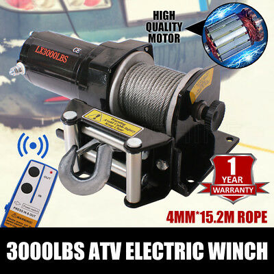 NEW Wireless 3000LBS /1360KG 12V Electric Steel Cable Winch Boat ATV 4WD Trailer