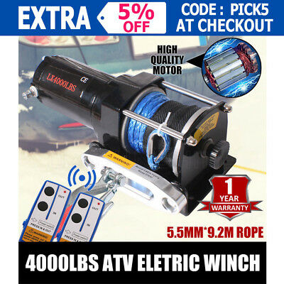NEW Wireless 4000LBS /1814KG 12V Electric Steel Cable Winch Boat ATV 4WD Trailer