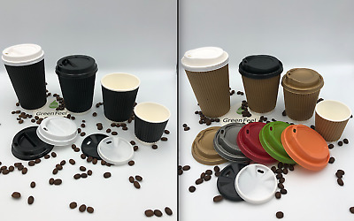 100 x 10oz Ripple Walled Paper Coffee Cups Black Brown Cups Kraft Cups With Lids
