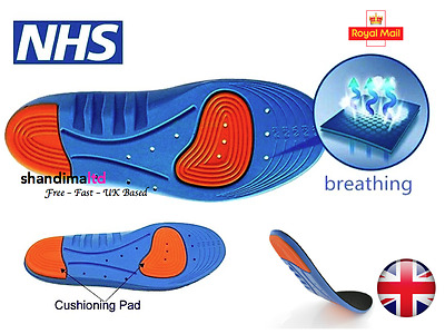 Diabetic Medical Arch Support Extra Thick Insoles Running Working Boots Shoes