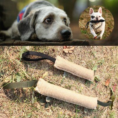 Strong Durable Dog Bite Tug Training Toy Jute Stick Puppy Pet Biting Playing