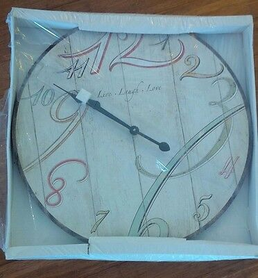 Brand New French Provinical Country Cream Wall Clock with pastal numbers, 60cms