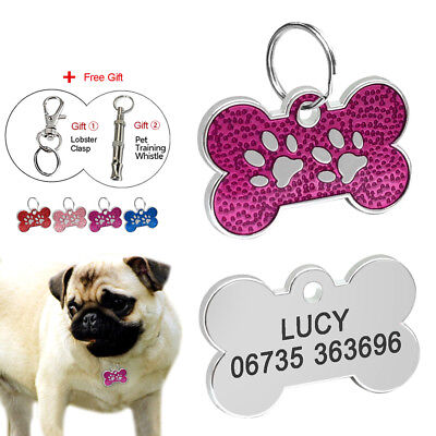 Bone Engraved Dog Tags Personalised Cat Puppy Pet ID Collar Tags Free Whistle