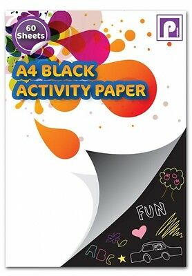 Black Activity Drawing Pad Papers Kids Craft Children School Fun 60 Sheets