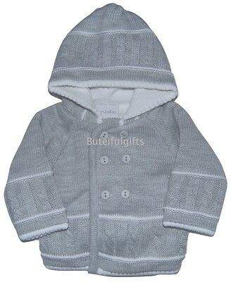 Baby Boys Girls Spanish Style Grey Double Knitted Pram Jacket 0-12 Month