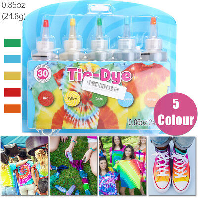 AU 5 Colour Tie Dye Kit 0.86oz w/ 40X Rubber Bands + 4 Pairs Vinyl Glove Paint