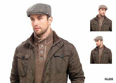 Men's Traditional Country Flat Cap Herringbone Tweed Check Hat Quilted Lining