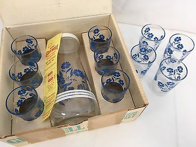 Vintage Grip-Well Boxed Juice Set Mid Century MIB Swanky Swigs Blue Floral