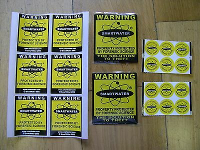 Lot of TWENTY SMARTWATER Forensic Coding / Security Stickers - see listing