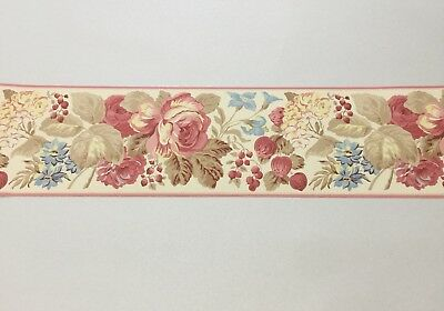 Vtg 90s Gorgeous Laura Ashley Home Wallpaper Border Floral With Berries 6 Rolls
