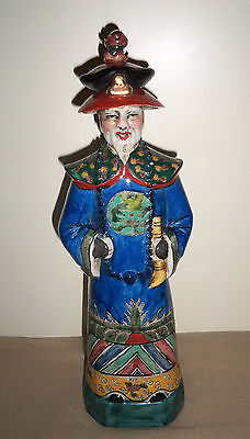 Chinese Ceramic Wise Man Figurine Asian Figure Sage Decorative Writing Vintage?