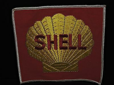 """VINTAGE RARE ORIGINAL LARGE 6"""" x 6"""" SHELL OIL EMBROIDERED JACKET PATCH."""