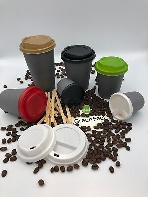 Coffee Tea Party PAPER CUPS GREY 500 x 8oz 12oz Cold Hot Drinks Disposable LIDS
