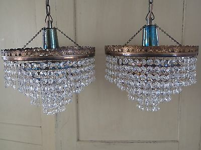 PAIR Rewired Mid Century Czech Crystal Modernist Tarnished Gilt Metal Chandelier
