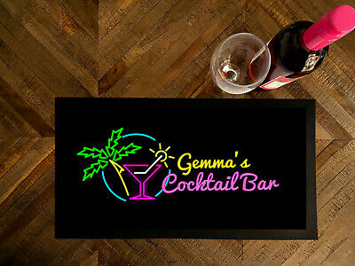 Personalised Tropical Cocktail Bar runner Mat Pub & Clubs Games night